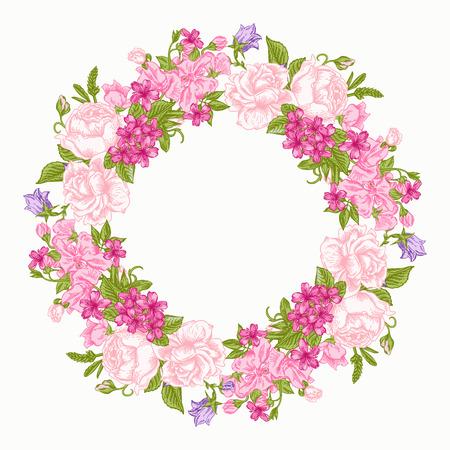 Carton d'invitation avec la guirlande florale ronde. Roses, les pois décoratifs, renoncules. Vintage vector illustration. Banque d'images - 40383879