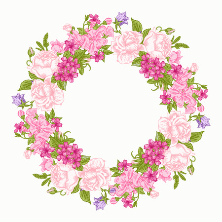 Uitnodiging kaart met bloemen round krans. Rozen, decoratief erwten, boterbloemen. Vintage vector illustratie.