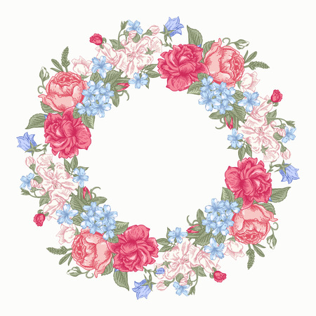 buttercups: Invitation card with floral round wreath. Roses, decorative peas, buttercups. Vintage vector illustration.