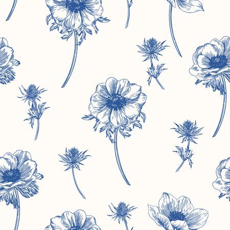 Vector naadloze patroon met anemonen bloemen. Stock Illustratie