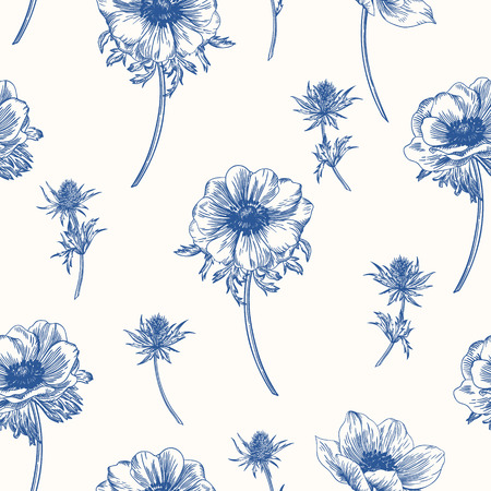 Vector seamless pattern with anemones flowers. Çizim