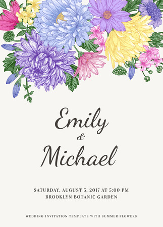 Floral wedding invitation in vintage style. Chrysanthemums asters daisies. Vector illustration. Reklamní fotografie - 40383956