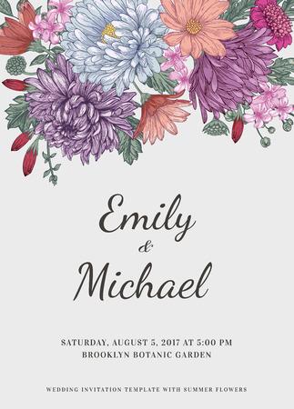 Bloemenhuwelijksuitnodiging in vintage stijl. Chrysanten asters madeliefjes. Vector illustratie in pastelkleuren.