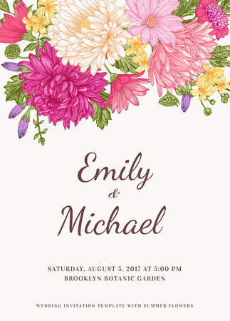 Floral wedding invitation in vintage style. Chrysanthemums asters daisies. Vector illustration. Vettoriali