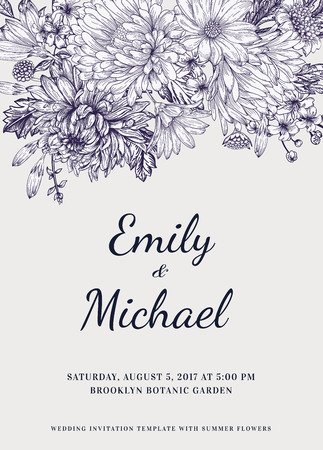 Floral wedding invitation in vintage style. Chrysanthemums asters daisies. Vector illustration. Ilustração