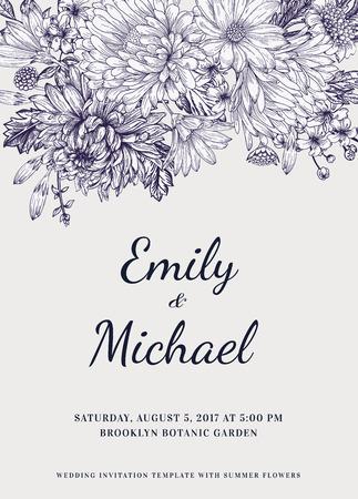 Invitación de la boda floral en estilo vintage. Crisantemos asteres margaritas. Ilustración del vector. Foto de archivo - 40383960