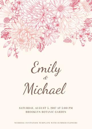 Bloemenhuwelijksuitnodiging in vintage stijl. Chrysanten asters madeliefjes. Roze bloemen. Vector illustratie. Stock Illustratie
