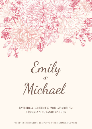 Floral wedding invitation in vintage style. Chrysanthemums asters daisies. Pink flowers. Vector illustration. Ilustração