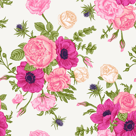 anemones: Seamless floral pattern with bouquet of colorful flowers on a white background. Roses anemones eustoma.