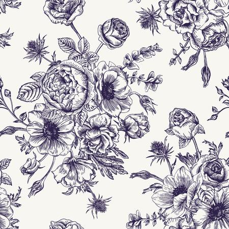 jardines con flores: Patr�n floral transparente con el ramo de flores sobre un fondo blanco. Rosas an�monas eustoma. Blanco y negro.