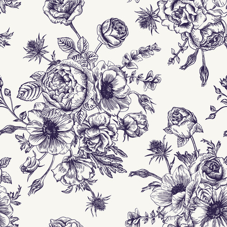 botanical: Seamless floral pattern with bouquet of flowers on a white background. Roses anemones eustoma. Black and white. Illustration