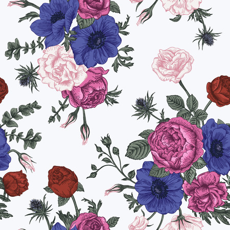 bouquet: Seamless floral pattern with bouquet of colorful flowers on a white background. Roses anemones eustoma.