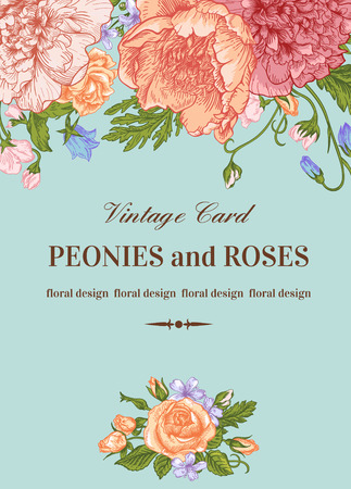 Vintage floral card with romantic flowers on a blue background. Peonies, roses, sweet peas, bell. Romantic background. Vector illustration.