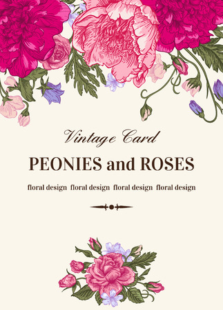 Vintage floral card with garden flowers. Peonies, roses, sweet peas, bell. Romantic background. Vector illustration. Çizim