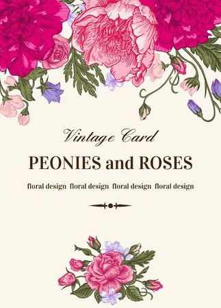 sfondo romantico: Vintage scheda floreale con fiori del giardino. Peonie, rose, piselli dolci, campana. Sfondo romantico. Illustrazione vettoriale.