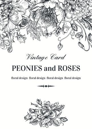 cổ điển: thẻ hoa Vintage với vườn hoa. Peonies, hoa hồng, đậu ngọt, chuông. nền lãng mạn. Đen và trắng. Vector hình minh họa.