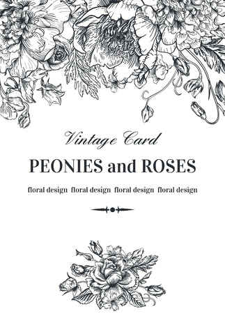 vintage pattern background: Vintage floral card with garden flowers. Peonies, roses, sweet peas, bell. Romantic background. Black and white. Vector illustration.