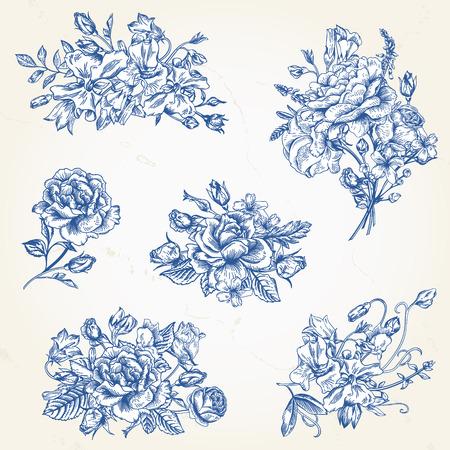 romantico: Conjunto de vector de elementos de diseño floral en azul. Una colección de ramos de flores románticas con rosas de jardín, guisantes dulces y campana.