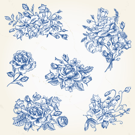 Set of vector floral design elements in blue. A collection of romantic bouquets with garden roses, sweet peas and bell.