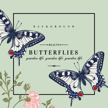 papillon dessin: carte vectorielle avec des papillons et des fleurs.