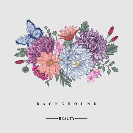 Fundo floral Cartão com um buquê de flores e uma borboleta. Crisântemos, ásteres, botões de ouro, margaridas.