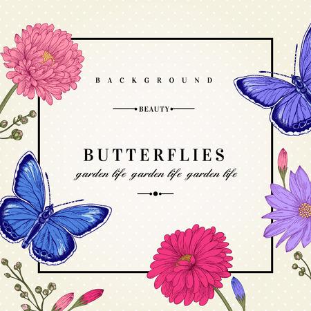Vector kaart met twee vlinders en bloemen.