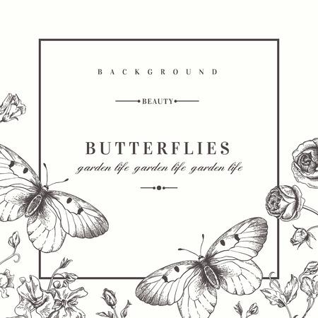 Vector kaart met vlinders en bloemen. Stock Illustratie