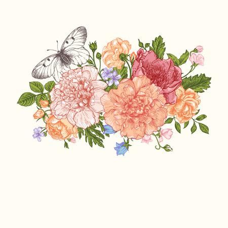 cartoline vittoriane: Floral background. Scheda con un mazzo di fiori e una farfalla. Peonie, rose, ranuncoli, piselli.