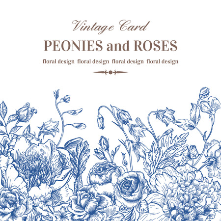 Floral border with summer flowers on a white background  in blue. Peonies, roses, bells. Monochrome. Vintage vector illustration. Peonies, roses, sweet peas, bell.