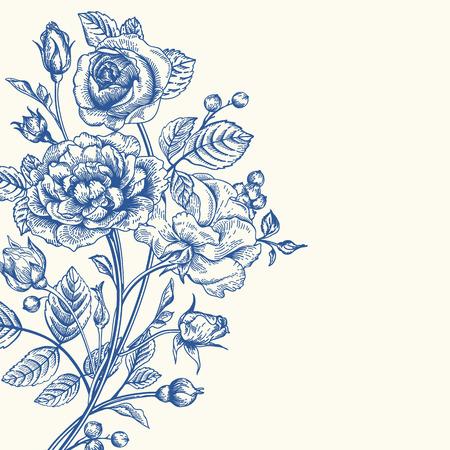 バラの花束とビンテージ ベクトルの背景。