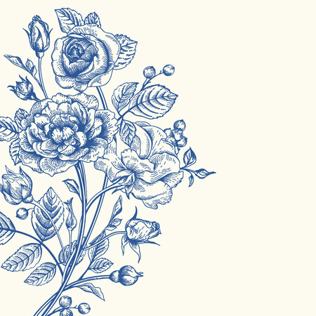 Vintage vector background with a bouquet of roses. Stock fotó - 40447573