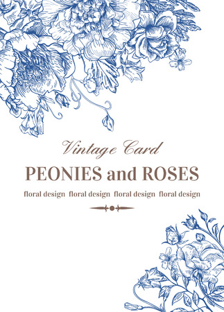 cartoline vittoriane: Invito a nozze con rose e peonie in blu su sfondo bianco.