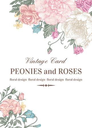 bridal: Wedding card with roses and peonies in pastel colors on a white background.