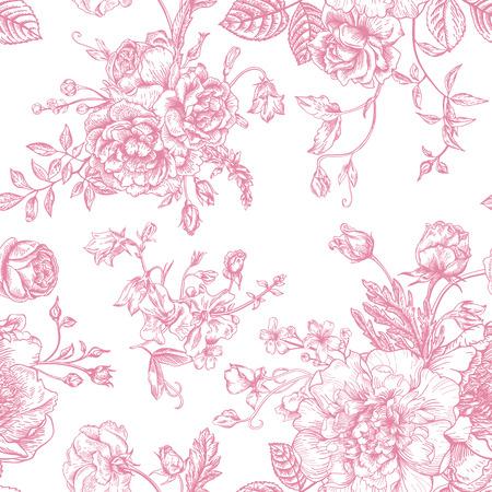 Naadloze vector vintage patroon met een boeket van roze bloemen op een witte achtergrond. Pioenen, rozen, zoete erwten, bel. Monochroom. Stock Illustratie
