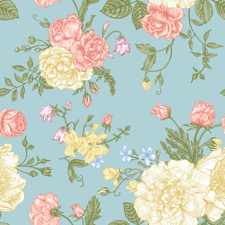 Seamless floral pattern with bouquet of colorful flowers on a blue background. Peonies, roses, sweet peas, bell. Vector illustration.