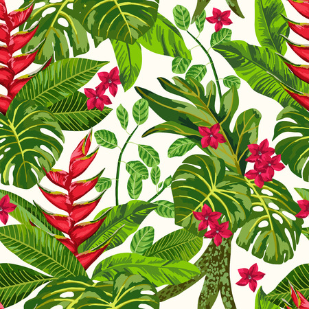 heliconia: Seamless exotic pattern with tropical leaves. Blooming jungle. Vector illustration.