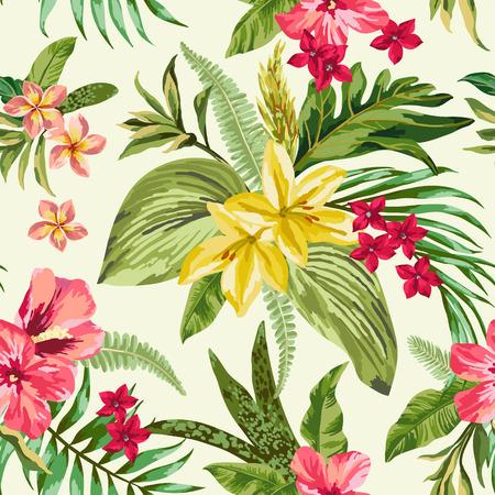 jungla: Modelo inconsútil exótico con hojas y flores tropicales. Blooming selva. Ilustración del vector.