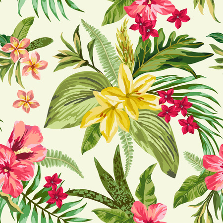 tropical plant: Seamless exotic pattern with tropical leaves and flowers. Blooming jungle. Vector illustration.