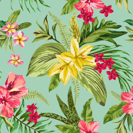 jungle vector: Seamless exotic pattern with tropical leaves and flowers. Blooming jungle. Vector illustration.