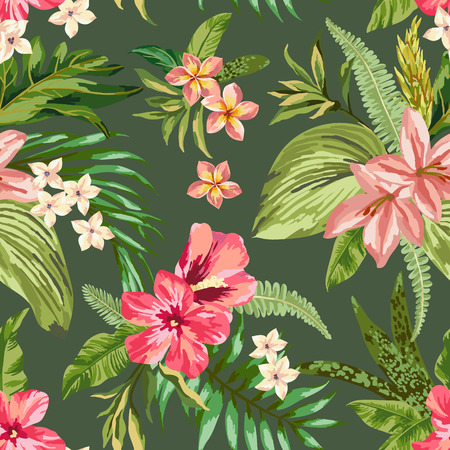 hawaiian flower: Seamless exotic pattern with tropical leaves and flowers. Blooming jungle. Vector illustration.