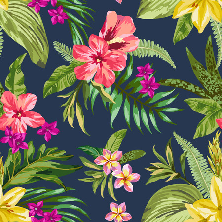 hawaiana: Modelo inconsútil exótico con hojas y flores tropicales. Blooming selva. Ilustración del vector.