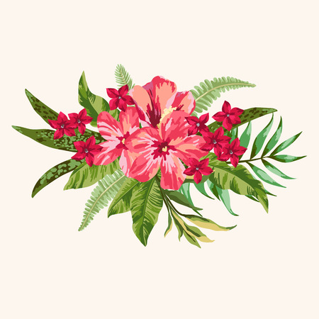 pink plumeria: Vector background with a bouquet of tropical flowers. Illustration