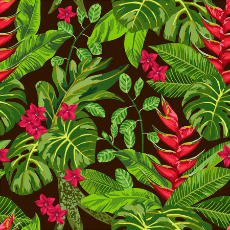 Seamless exotic pattern with tropical leaves. Blooming jungle. Vector illustration.