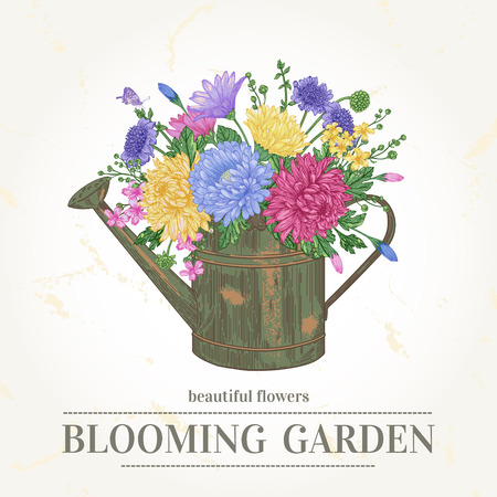 garden party: Vector vintage card with a bouquet of flowers and a copper watering can in pastel colors.
