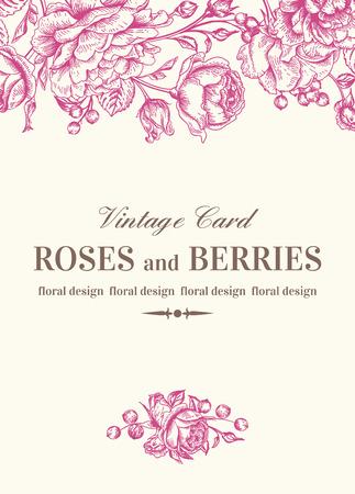 Vintage bruiloft kaart met roze rozen op een witte achtergrond. Vector illustratie.