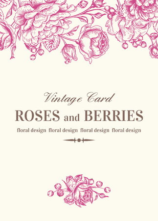 Vintage wedding card with pink roses on a white background. Vector illustration. Çizim