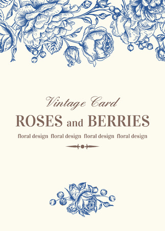 Vintage wedding card with blue roses on a white background. Vector illustration. Vettoriali