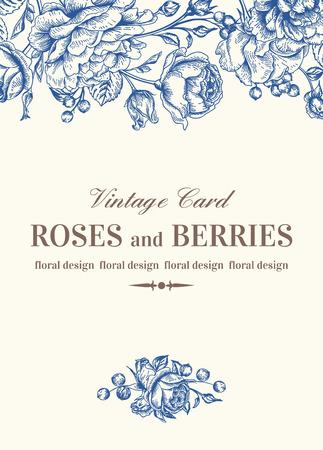english rose: Vintage wedding card with blue roses on a white background. Vector illustration. Illustration