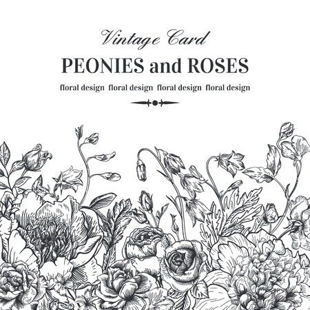 etching pattern: Floral border with summer flowers on a white background. Peonies, roses, bells. Black and white illustration.