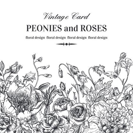 blanco: Frontera floral con flores de verano sobre un fondo blanco. Peonías, rosas, campanas. Ilustración blanco y negro. Vectores
